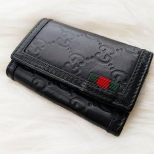 Gucci Black Leather 6 Key Case